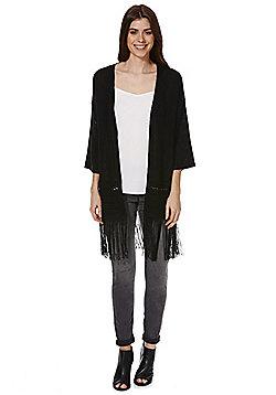 F&F Tassel Trim Kimono Cardigan - Black