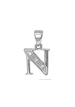 Jewelco London 9 Carat White Gold Elegant 1.5pts Diamond-Set Initial Pendant - Initial N