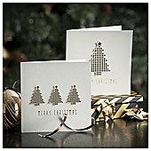 Tesco Luxury Geo Trees Christmas Cards, 10 Pack