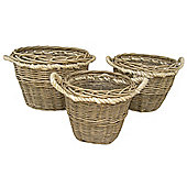 Wicker Valley Round Rope Handled Log Basket (Set of 3)