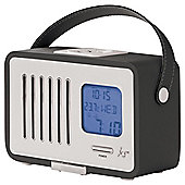 Kitsound Swing Portable FM Radio with Alarm Clock, Black