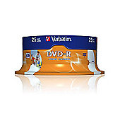 Verbatim AZO DVD-R 4.7GB 16x Wide Photo Printable ID 25-Pack Spindle