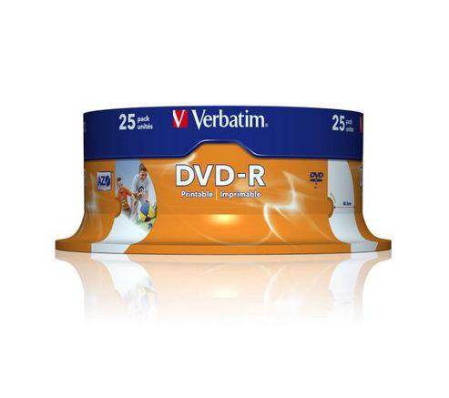 Verbatim AZO DVD-R 4.7GB 16x Wide Photo Printable ID 25-Pack Spindle