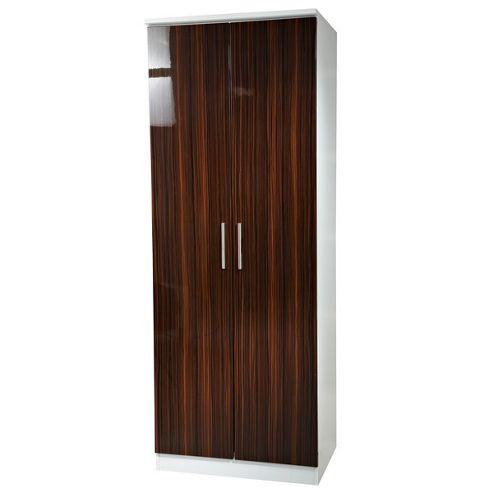 Welcome Furniture Knightsbridge Tall Plain Wardrobe - Ebony - Cream - 127cm H