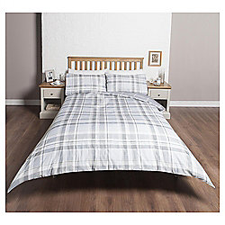 Single Reversible Duvet Set, Grey Check