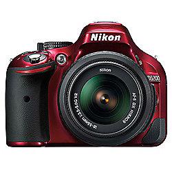 """Nikon D5200 Digital SLR, Red, 24.1MP, 3"""" LCD Screen, 18-55mm VR Lens Kit"""