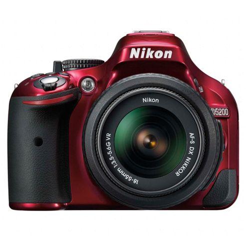 Nikon D5200 Digital SLR, Red, 24.1MP, 3