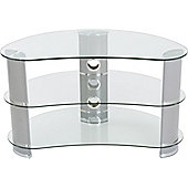 AVF Curved Glass TV Stand For up to 40 inch TVs - Clear Glass and Chrome Legs