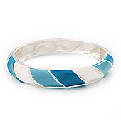 Light Blue/White Enamel Twisted Hinged Bangle Bracelet In Rhodium Plated Metal - 19cm Length