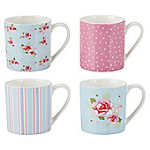 Tesco English Rose Set of 4 Fine China Mugs