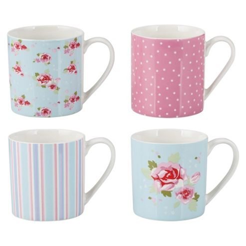Tesco English Rose Set Of 4 Porcelain Mugs
