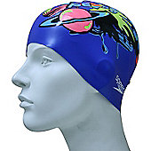 Speedo Slogan Junior Silicone Swimming Cap - Blue
