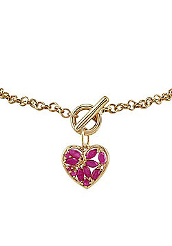 Gemondo 9ct Yellow Gold 0.88ct Ruby Heart Charm 19cm Bracelet