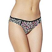 F&F Floral Print Narrow Bikini Briefs - Pink & Black
