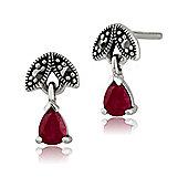 Gemondo Sterling Silver 0.39ct Ruby & Marcasite July Stud Earrings