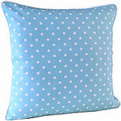 Homescapes Cotton Blue Polka Dots Scatter Cushion, 30 x 30 cm