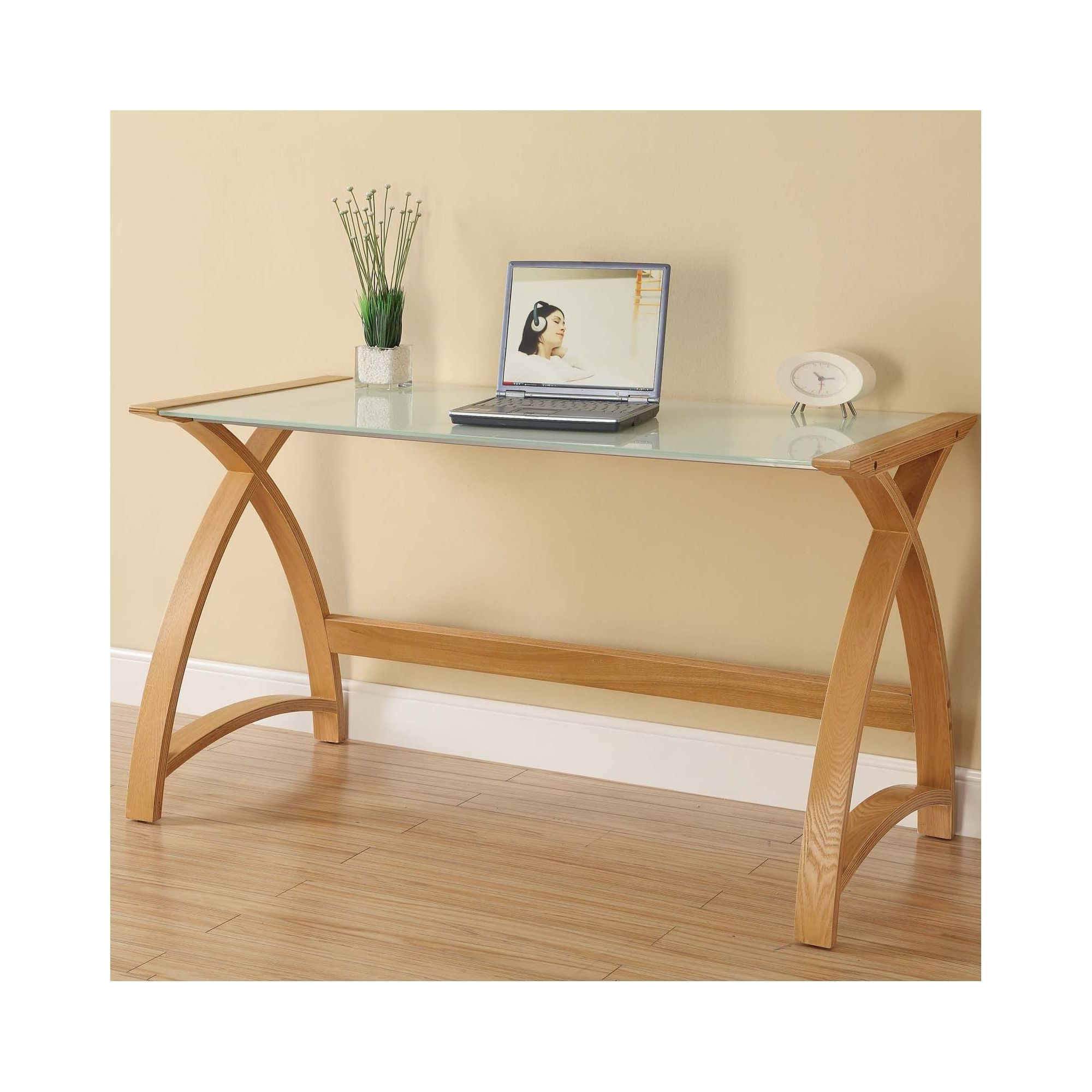 Jual Furnishings Ltd Curve Laptop / Work Table in Oak and White Glass at Tesco Direct