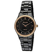 Accurist Ladies Black Ceramic Stone Set Watch LB1750B