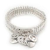 Silver Plated Charm 'Peace' Flex Bracelet - 19cm Length