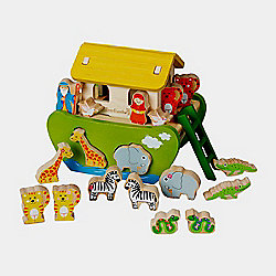 EverEarth Noah's Ark Shape Sorter Natural Wooden Toy 2+ years