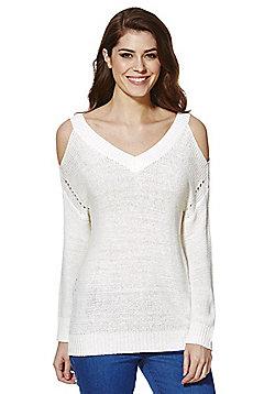 F&F Tape Knit Cold Shoulder Jumper - White