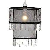 Bernice Two Tier Beaded Ceiling Pendant Light Shade in Black