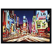 Times Square, New York City, USA Black Wooden Framed Colourful Night Life in Times Square Poster