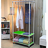 Candie - Open Wardrobe / Clothes Storage Rail - Green / White