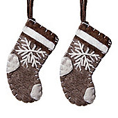 Set of Two Christmas Stocking Tree Decorations