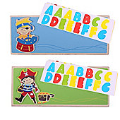 Bigjigs Toys Name Plaque (Pirate) (Pack of 2 - Light Blue and Green)