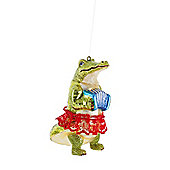 Crocodile in a Tutu Playing Accordion Hanging Glass Christmas Bauble