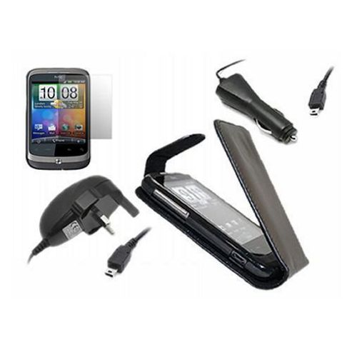 iTALKonline LCD Screen Protector, Car Charger and Mains Charger and Flip Case Black - For HTC WildFire
