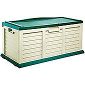 Large Green & Cream Garden Cushion Storage Chest & Bench