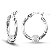 Jewelco London 9ct White Gold polished hoops with spinning frosted 9ct White Gold glitter Ball
