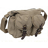 Summit Canvas Shoulder Bag with 2 Pockets Khaki