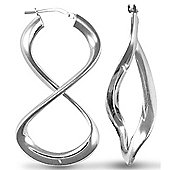 Jewelco London Sterling Silver Fig. of eight Hoop Earrings - Ladies