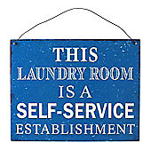 Laundry Room Retro Metal Wall Sign