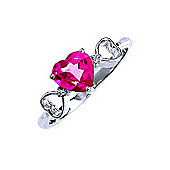 QP Jewellers Diamond & Pink Topaz Trinity Heart Ring in 14K White Gold