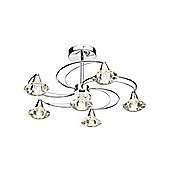 6 Light Ceiling Lamp with Curving Arms and Glass Shades