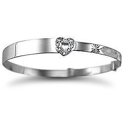Jewelco London Sterling Silver CZ heart ID expander baby Bangle Identity Bangle - Children's