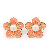 Peach Enamel Faux Pearl 'Daisy' Stud Earrings In Gold Plating - 3cm Diameter