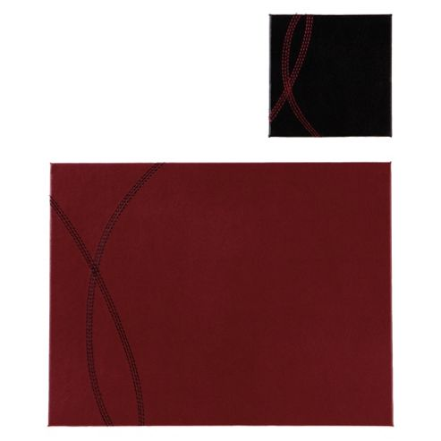 Tesco Reversible Faux Leather Set of 4 Placemats and Coasters, Red and Black