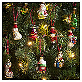 Vintage Figures Christmas Tree Decorations, 12 pack