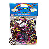 Colourful Loom Bands 300 Metallic Multi Colour Rubber Bands with 'S' Clips