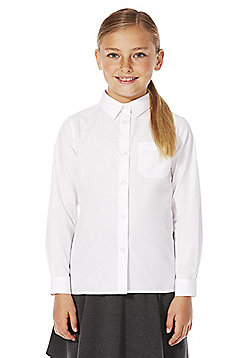 F&F School 2 Pack of Girls Easy Iron Long Sleeve Shirts - White