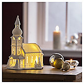 DOBBIES WHITE PORCELAIN LIGHT UP CHURCH