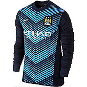 2013-14 Man City Nike Pre-Match LS Training Jersey (Navy) - Navy