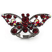 Gun Metal Ruby Red Butterfly Ring