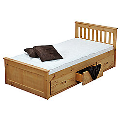 Amani Pine Mission Single Storage Bed Frame - Waxed Pine