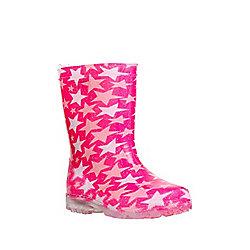 F&F Star Print Light Up Wellies 11 Child Pink